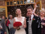 Confetti Throwing at Bride and Groom